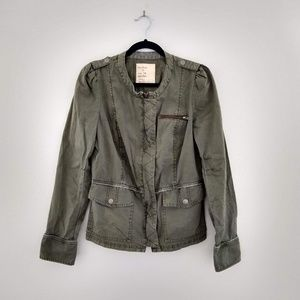 Free People Olive Linen Safari Jacket